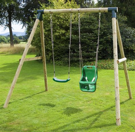 swing sets rebo children s wooden garden swing sets single baby