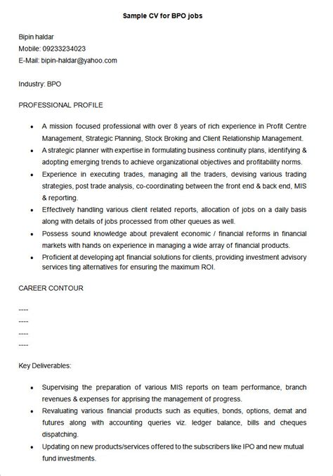 Resume Format Professional Sle by Sle Resume Format For Bpo 100 Images Professional