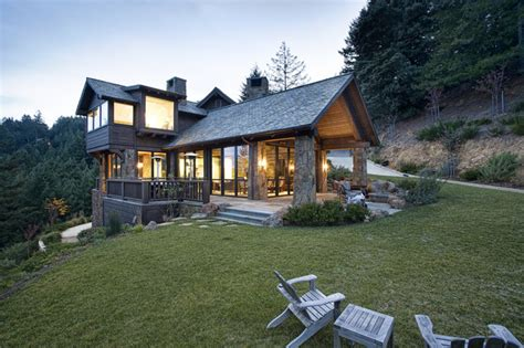 Two Story Craftsman mountain lodge eclectic rustic exterior san