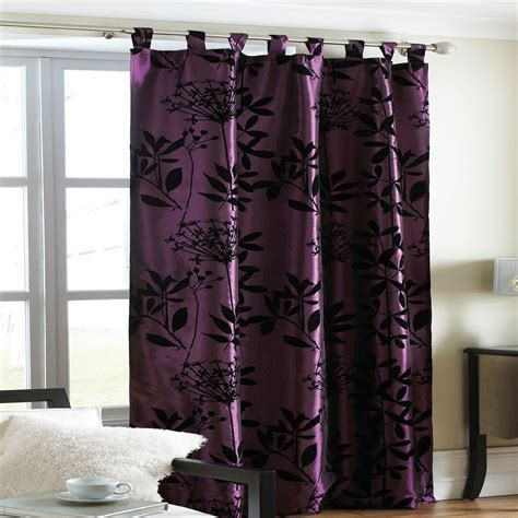 black and plum curtains plum printed flock heather design satin curtain panel size
