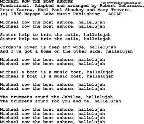 peter paul and mary michael row the boat ashore other recordings of this song peter paul and mary song michael row the boat ashore lyrics