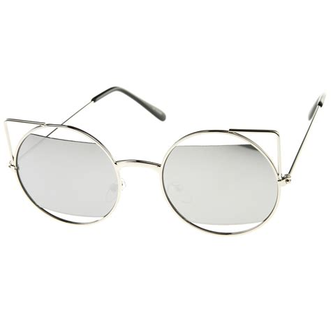 Cut Out Frame Cat Eye Sunglasses sunglassla cut out metal open frame mirrored lens