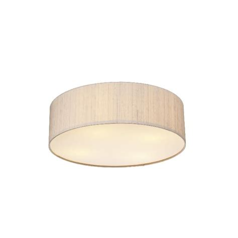 Low Energy Flush Ceiling Lights Dar Silk Collection Paolo 3 Light Low Energy Flush Ceiling Fitting With Taupe Silk Shade