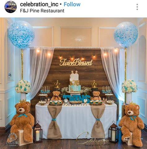 New rustic teddy bear twins theme baby shower dessert table decor crown themed baby shower