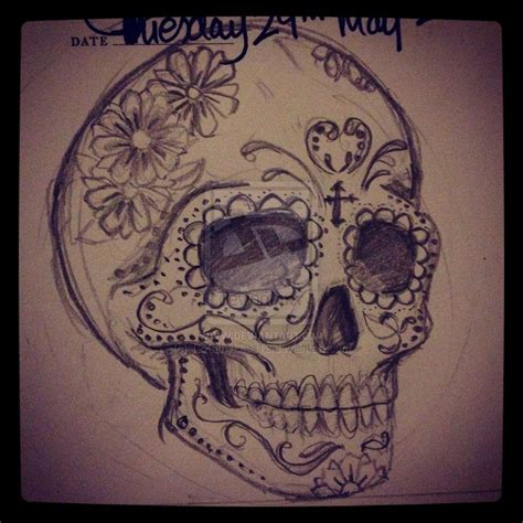 sugar skull tattoo design sugar skull by 12kathylees12 on deviantart