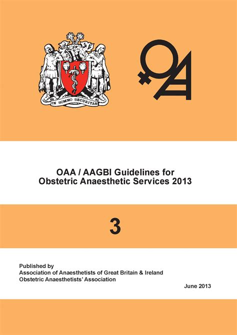 Obstetrics For Anaesthetists oaa guidelines