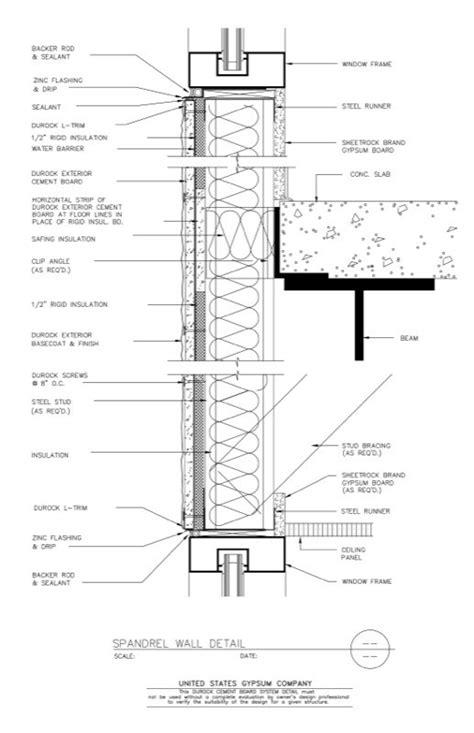 brick curtain wall detail usg design studio 09 21 16 03 263 durock spandrel wall