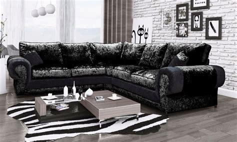 cheap crushed velvet sofa eliza crushed velvet large corner sofa black high