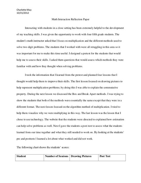writing a math paper math interaction reflection paper