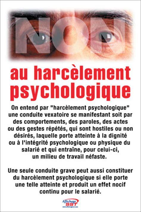 Exemple De Lettre Pour Harcelement Psychologique affiches s 233 curit 233 harc 232 lement psychologique ou moral