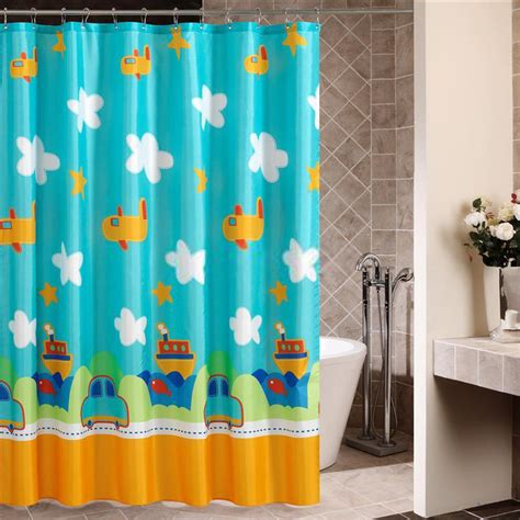 kid shower curtain blue sky with white clouds and planes shower curtains for