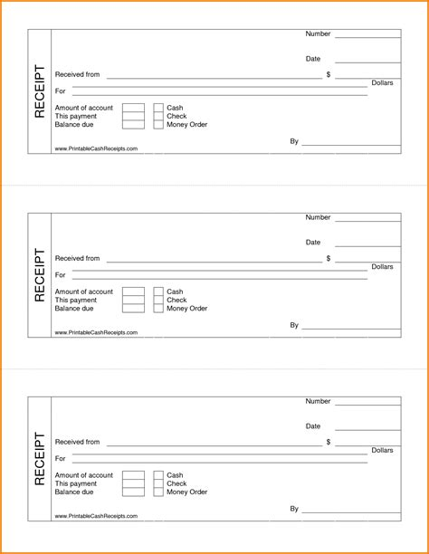 Numbered Receipt Template 4 Per Page by 8 Blank Receipt Form Expense Report