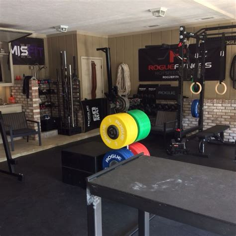 ideal home garage rogue fitness crossfit bars squat