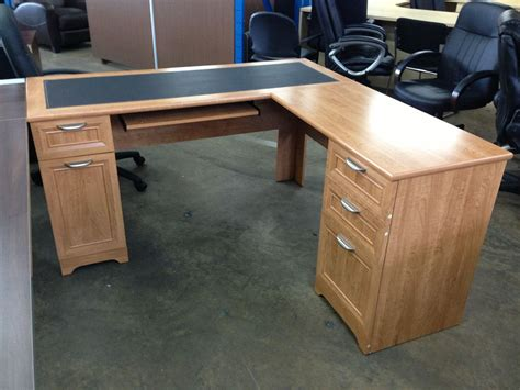 desk l with outlet realspace 194 174 magellan collection l shaped desk honey