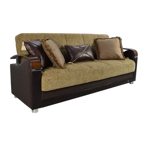71 Off Bellona Bellona Luna Gold And Brown Sofa Sleeper Brown Sofa Pillows