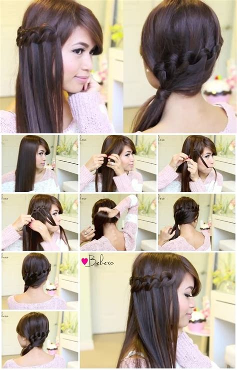 how to make a knotted loop waterfall braid hairstyle