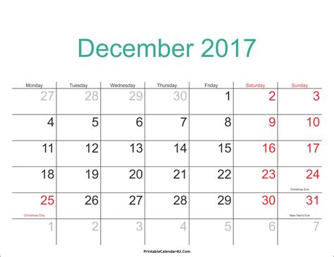 Calendar 2017 Pdf Printable December 2017 Calendar Printable With Holidays Pdf And Jpg