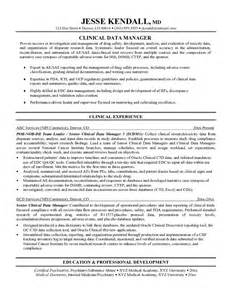 Clinical Data Manager Sle Resume by Exle Clinical Data Manager Resume Free Sle