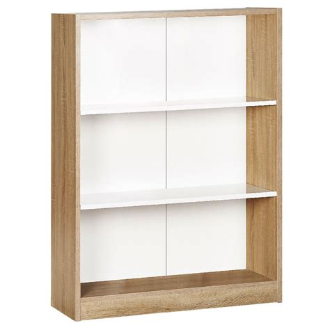 3 shelf bookcase oak and white ebay