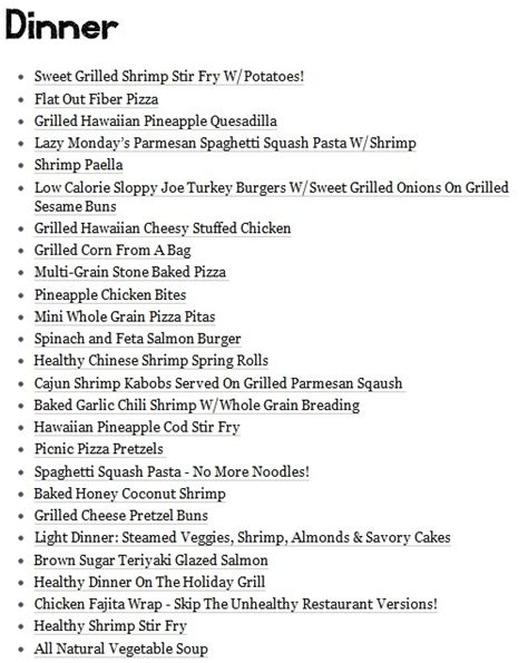 dinner menu themes healthy dinner menu for