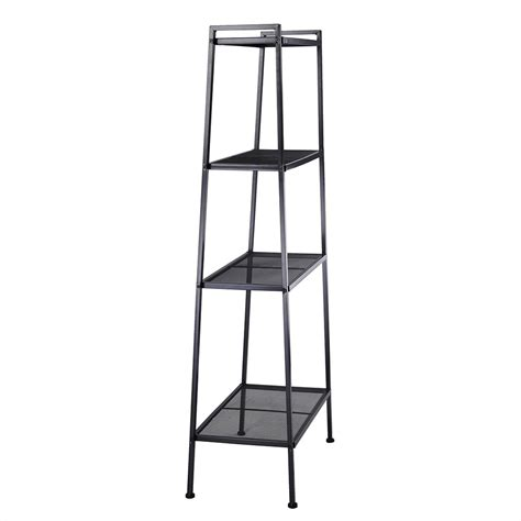 4 tier ladder bookcase metal frame book shelf storage rack
