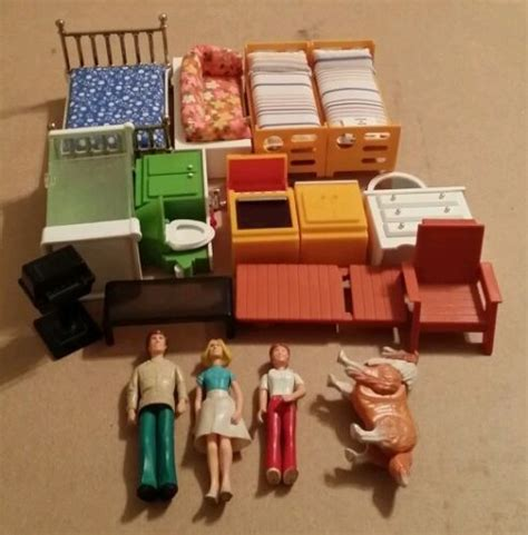fisher price dolls house furniture vintage fisher price dollhouse furniture lot bathroom kitchen bedroom patio