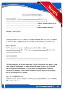 generic rental agreement form free printable
