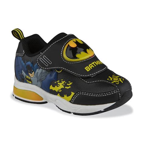 batman tennis shoes for dc comics toddler boy s batman black yellow light up