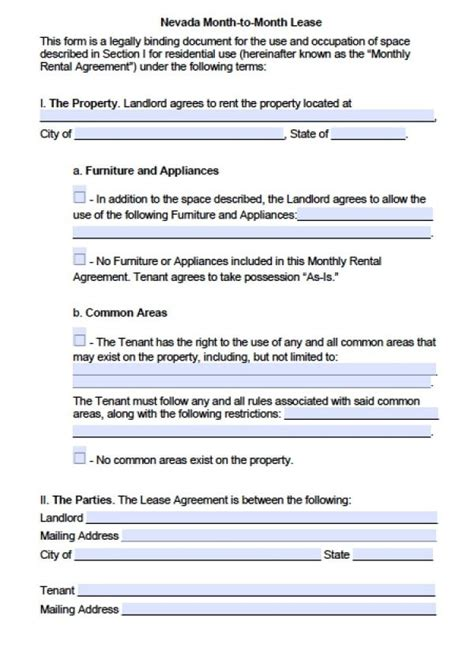 Free Nevada Month To Month Lease Agreement Pdf Word Doc Nevada Residential Lease Agreement Template