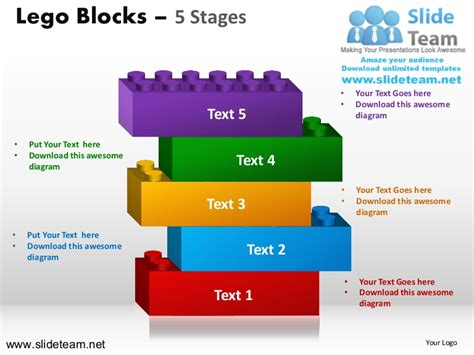 5 Stages Lego Cubes Building Blocks Stacked Building Blocks Logical P Building Blocks Template