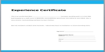Request Letter For Experience Certificate Application Format For Experience Certificate Assignment Point