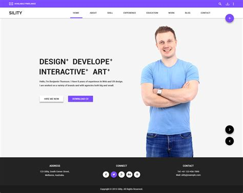 html vcard resume template free sility vcard cv resume theme by wpmines themeforest