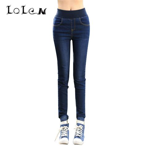 comfortable jeans lolen elastic waist jeans slim high waist was thin receive