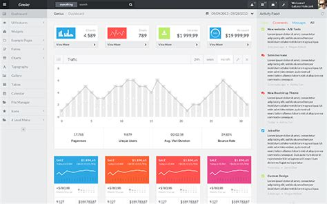 Genius Bs4 Angular 5 React Vue Js Bootstrap Admin Templates Wrapbootstrap React Web Page Template
