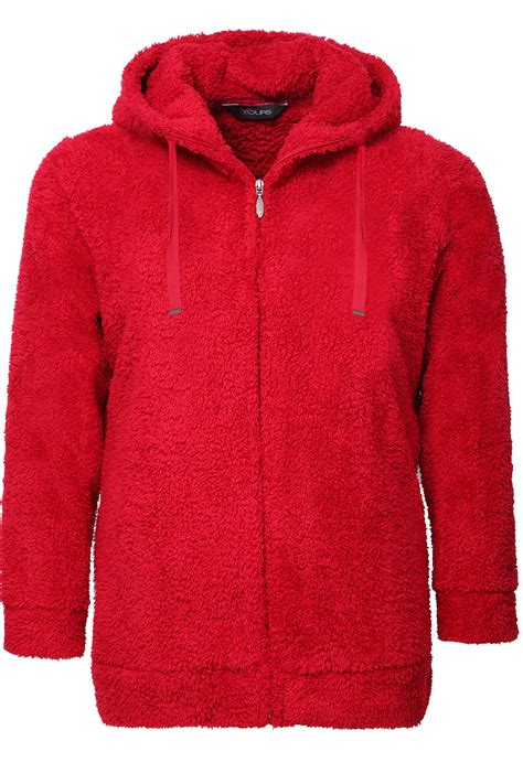 Drawcord Hoodie fluffy fleece hoodie with zip fastening and drawcord