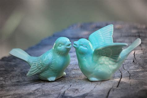 home decor birds bird wedding cake toppers in mint green love birds by