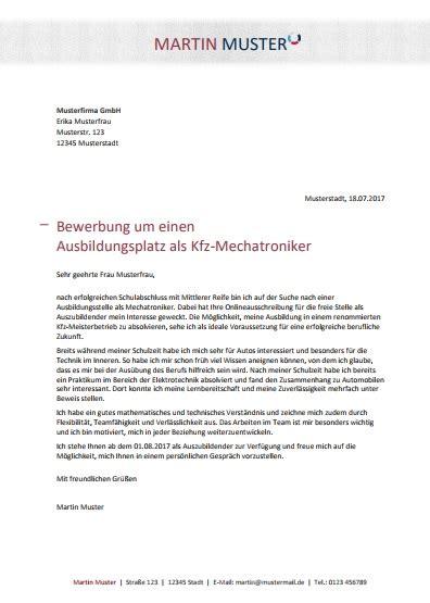 Bewerbungsschreiben Nach Ausbildung Kfz Mechatroniker kostenlose bewerbungsvorlage kfz mechatroniker in