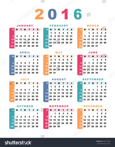 Calendar What Week Calendar 2016 Week Starts With Sunday Vector