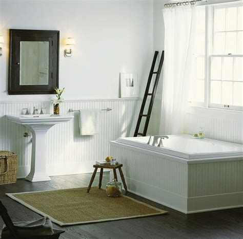 Wainscot Interior Paneling Kit Cottage Master Bathroom With House Of Fara 8 Sq Ft Mdf