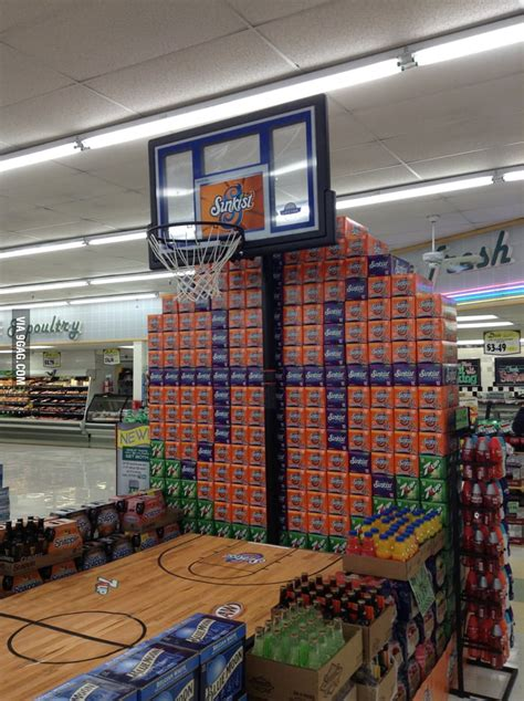 march madness grocery store display gag