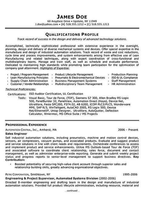 resume sles for engineers sales engineer resume exle