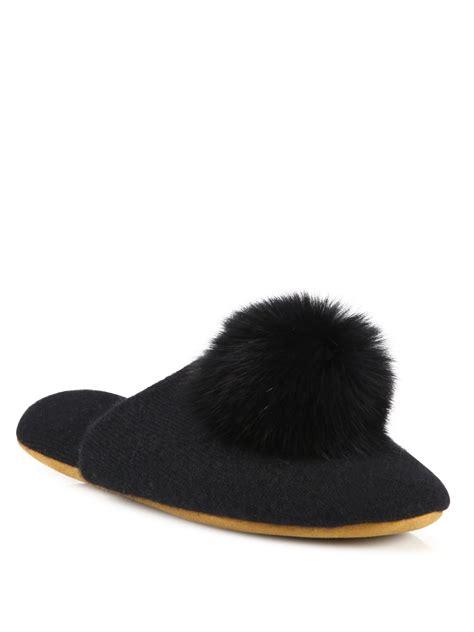 black fur slippers minnie fox fur pom pom slippers in black