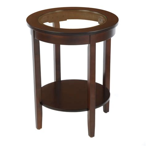 Glass Top Side Table Bay Shore Collection Side Table Glass Top Espresso Home Furniture Living Room