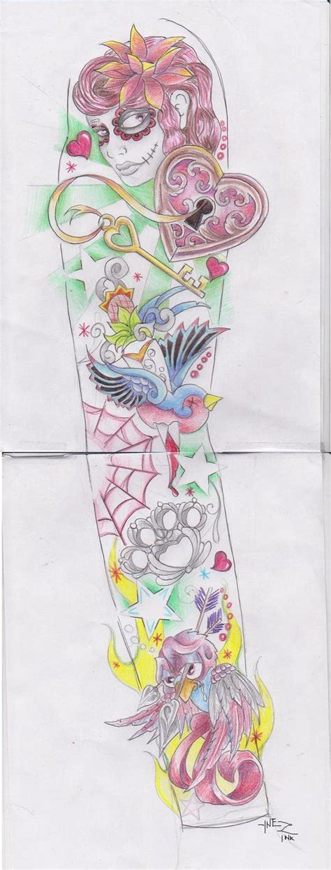 tattoo flash lessons girly sleeve by kymynez on deviantart tattoos