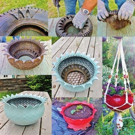 How To Make Recycled Tire Planters by How To Diy Recycled Tire Teacup Planters