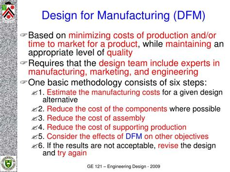 design for manufacturing presentation ppt engineering design ge121 design for x powerpoint