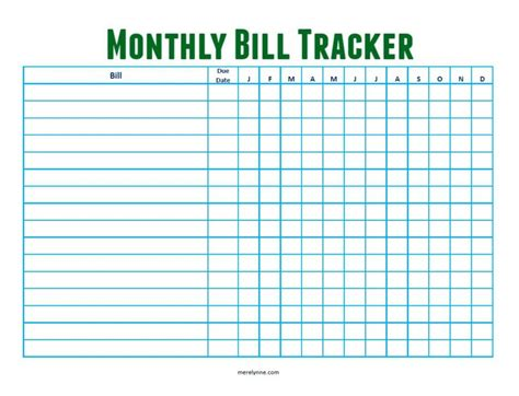 Stay On Top Of Your Monthly Bills Free Monthly Bill Tracker Download Meredith Rines Bill Tracker Template