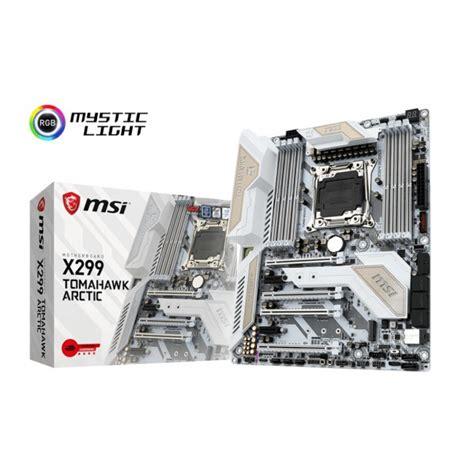 Msi X299 Tomahawk Arctic Lga 2066 msi x299 tomahawk arctic atx motherboard socket lga 2066 intel x299 chipset supports ddr4