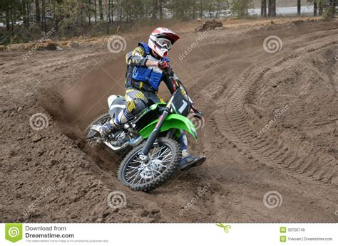 z racing motocross track mx racer on a motorcycle in the reversal track