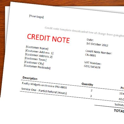 Note De Credit Template A Free Credit Note Memo Template For Freelancers